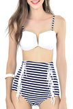 Iyasson Stripe Pattern High-waisted fit Bikini Sets