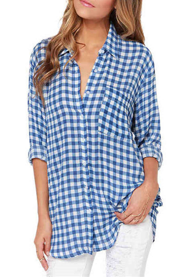 Iyasson Oversized Boyfriend Shirt in Blue Check&Plaid