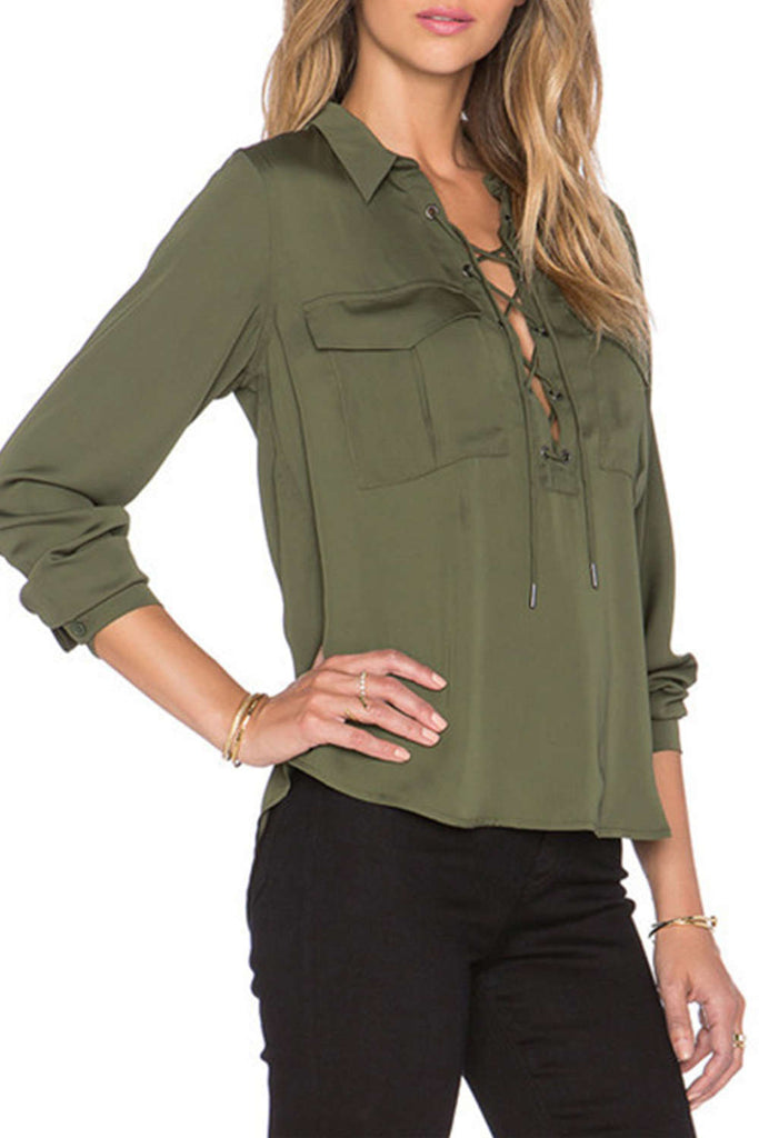 Iyasson Army Green Front Cross Design Loose Shirt
