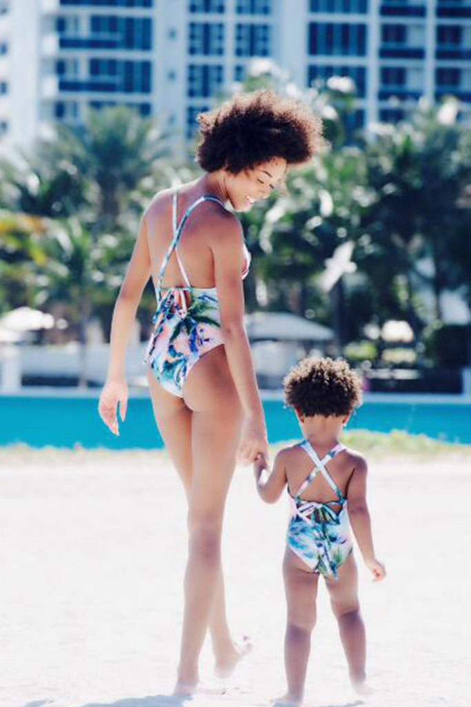 Iyasson Colorful Tropical Pattern Back Cross Mom & Daughter Swimsuit
