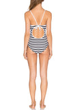 Iyasson Vintage Stripe Splicing Printing High neckline One-piece Swimsuit