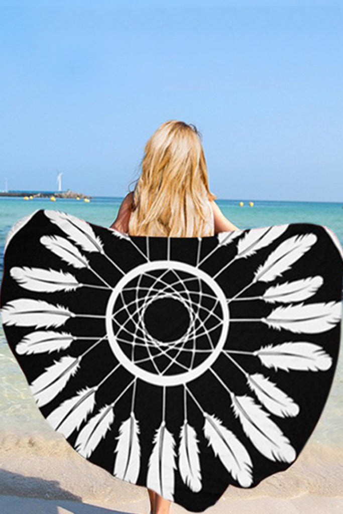 Iyasson Feather Printing With Tassel Ornament Round Beach Blanket
