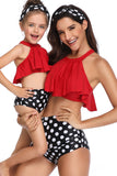 Mommy and Me Matching Family Swimsuit Womens Girls Suit Matching Swimwear Set with Headband
