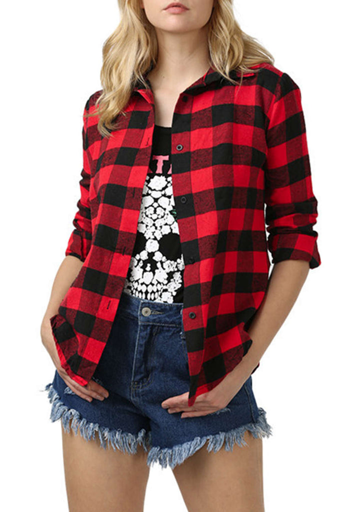Iyasson Plaid&Check Long Sleeve Shirt