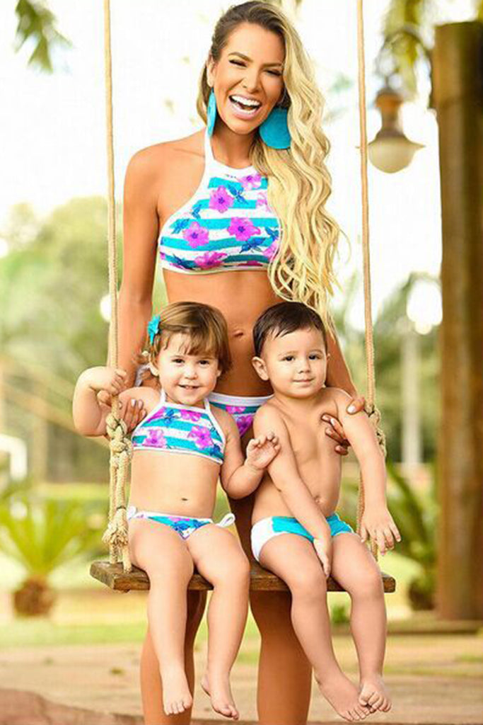 Iyasson Flora Printing Tank Top Mom & Kids Bikini Sets