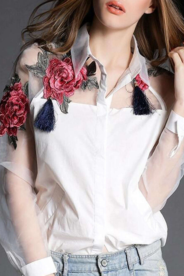 Iyasson Organza Splicing Floral Embroidery Shirt