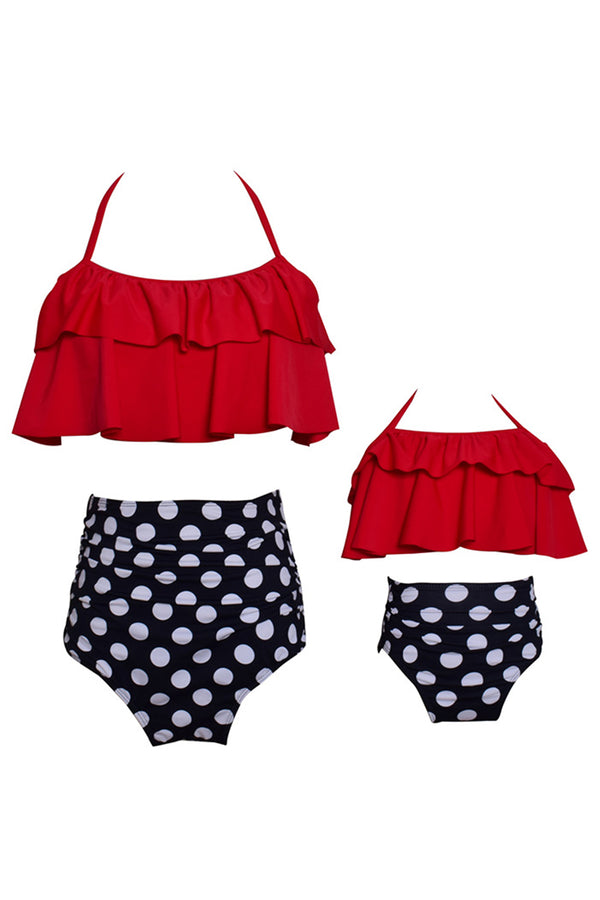 Iyasson Polka Dot Falbala Parent-child Bikini Sets