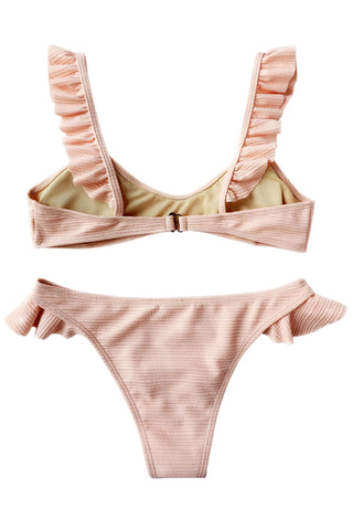 Iyasson Cute Solid-color Falbala Bikini Sets