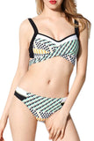 Iyasson Geometric Pattern Push Up Bikini Sets