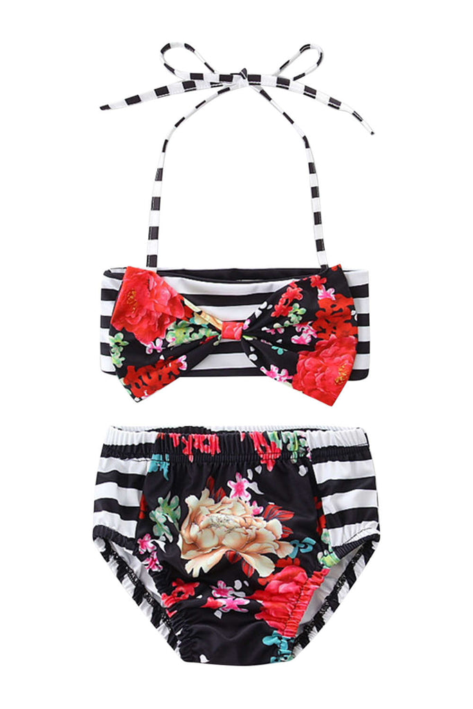 Iyasson Floral & Stripe Splicing Printing Halter Baby Girl Swimsuit