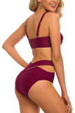 Women's Two Pieces Swimsuit High Waisted Cutout Bottoms Bikini Set Swimwear Bathing Suits