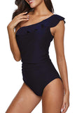 Women's One Shoulder Swimsuits Swimwear Ruffle One Piece Bathing Suit