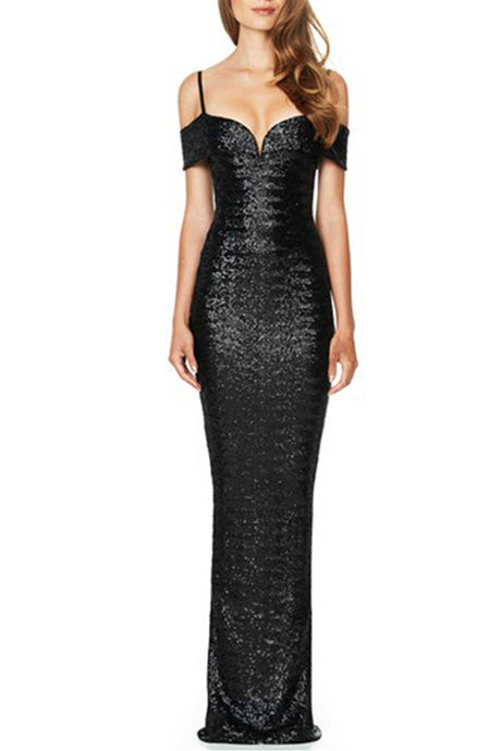 Iyasson Sexy Cold Shoulder Sequins Evening Dresses