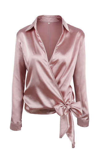 Iyasson Cross V-neck Wrap Bow-tie Long Sleeve Blouse