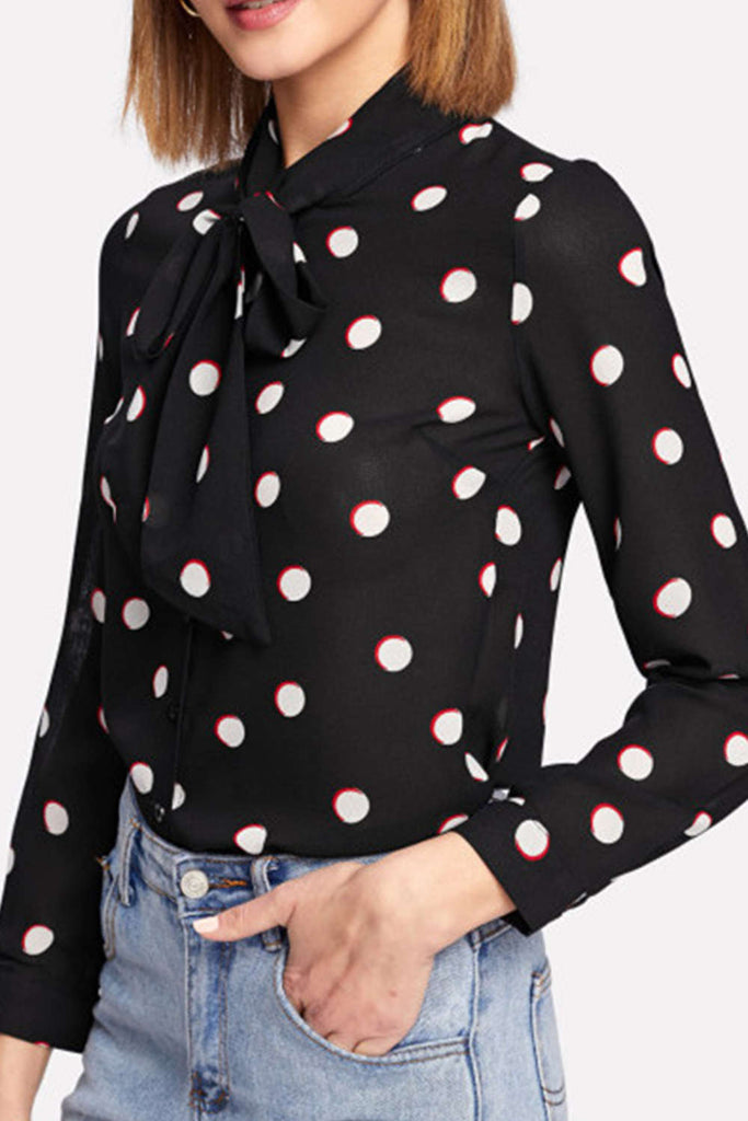 Iyasson Coin Dot Printing Long Sleeve Blouse