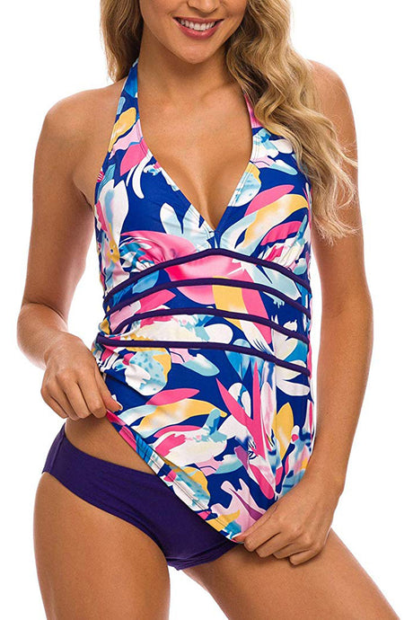 Women's Halter V Neck Swimwear Bathing Suits Two Piece Swimsuits Ruched Brief Tankini Set