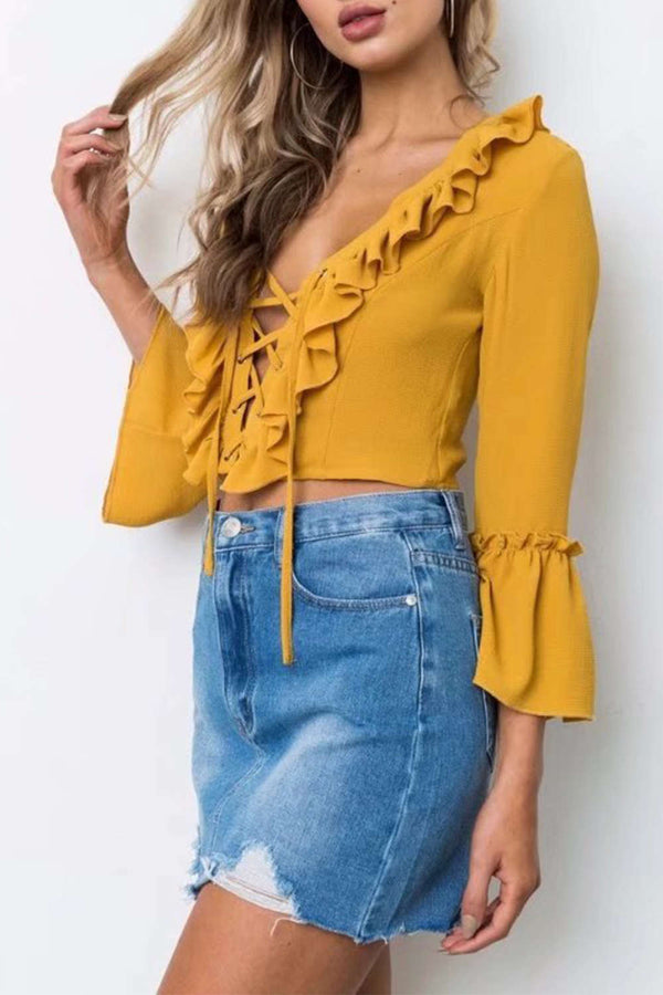 Iyasson Front Cross Ruffled Bell-Sleeve Crop Top