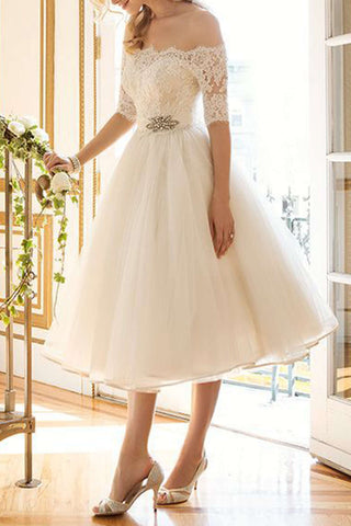 Iyasson Off-the-shoulder Lace Prom Dress