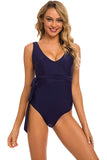 Women's One Piece Fake Wrap V Neckline Swimsuit Cross Bathing Suit