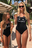 Iyasson Black Cute Cat Pattern Mom & daughter Swimsuit