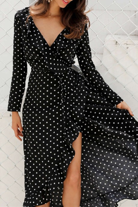 Iyasson Polka Dot Printing Ruffled Wrap Dress