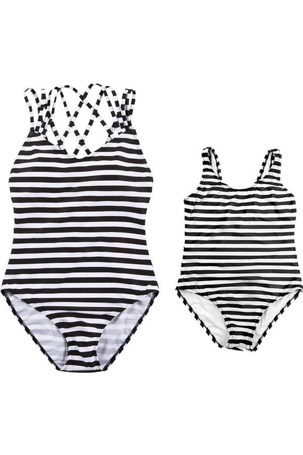 Iyasson Stripe Pattern Criss-cross Design Mom & Daughter Swimsuit