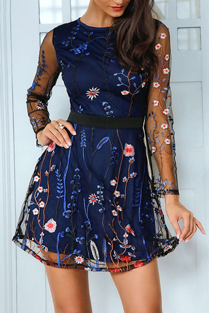 Iyasson Floral Embroidery Mesh Splicing Mini Dress