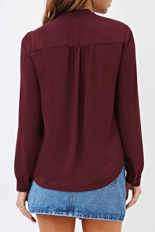Iyasson Solid Color Long Sleeve Shirt