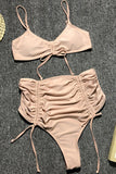 HIGH WAISTED DRAWSTRING RUCHED THONG BIKINI SWIMSUIT