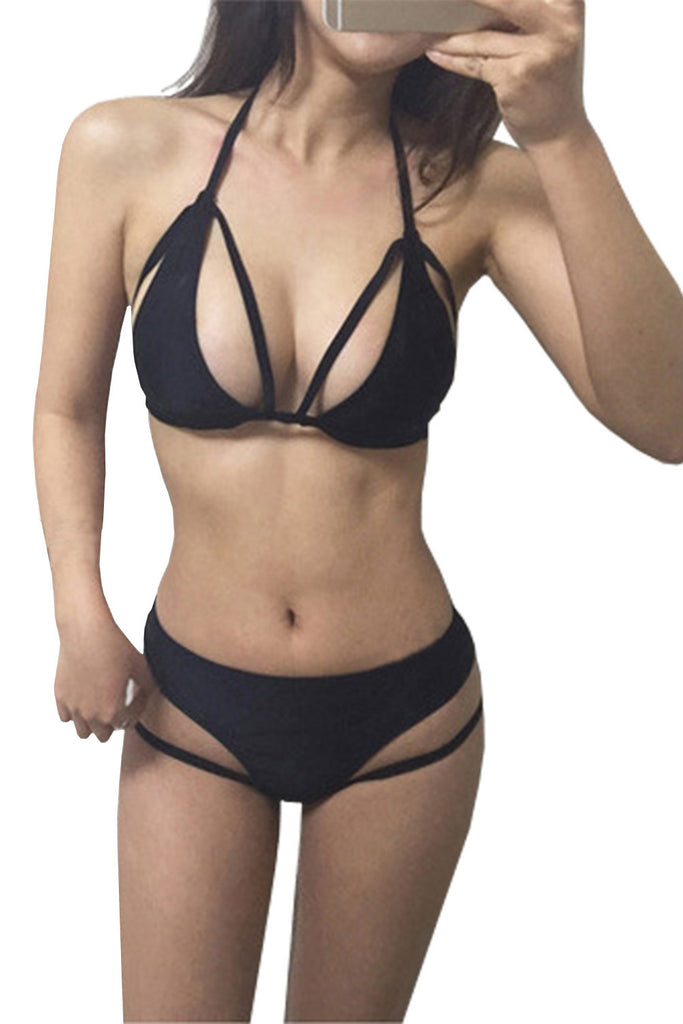 Iyasson Solid color front cut out design  Bikini Set
