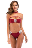 Iyasson Sexy Solid Color Tube Top Two-piece Bikini Set