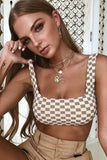 Iyasson Grid Print Tank Top Two-piece Bikini Set