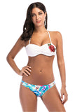 Iyasson Halter Neck Rose Embroidered Two-piece Bikini Set