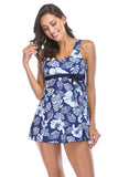 Iyasson Blue Floral Print Conservative Two-piece Swimming Dress