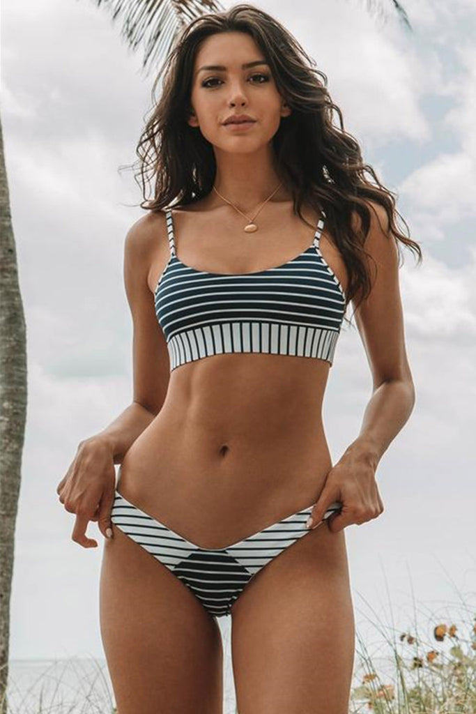 Iyasson Black and White Stripe Bikini Set