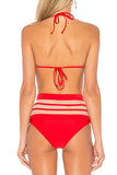 Iyasson Women's 2019 Summer High Waist Striped Two Pieces Bikini Padded Swimsuit with Tassels