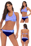 Iyasson Womens Low Waist Padded Striped Cross Swimsuit
