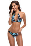 Iyasson Womens Hollowing out Padded Floral Straps Swimsuit