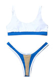 Iyasson Womens U-Shaped Low Rise Two Pieces Bikini Set Padded Stitching Swimsuit