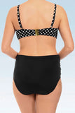 Iyasson Women's Oversize High Waist Two Pieces Padded Polka Dot Swimsuit
