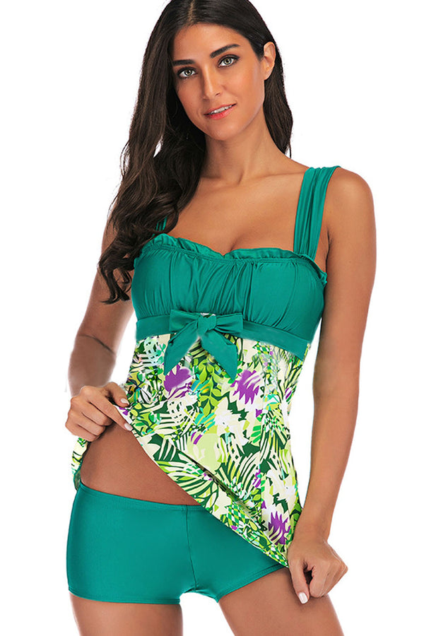 Iyasson Womens Oversize Floral Low Collar Swimsuit
