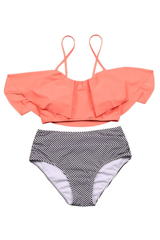 Iyasson Summer Beach Falbala Bikini Set