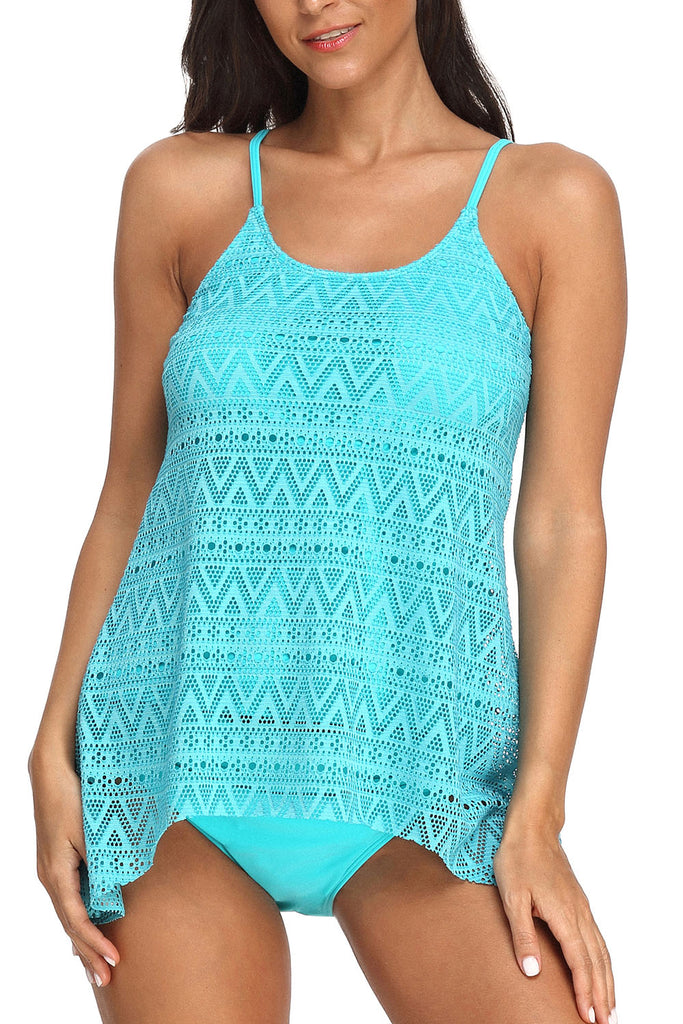 StarTreene Women's Stripe Tankini 2 Piece Bathing Suits Tank Top with Brief Swimsuits