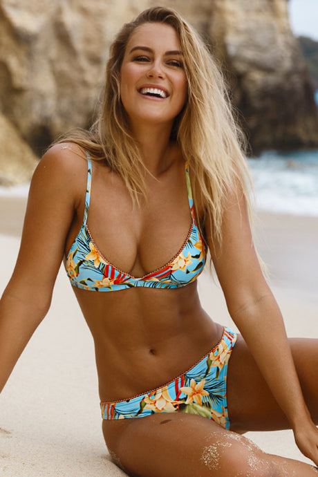 TROPICAL FLORAL TRIANGLE BIKINI SWIMSUIT
