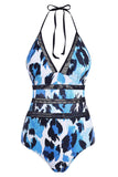 Leopard Backless Crochet Panel One-piece Halter Swimsuit
