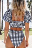 Blue gingham High Waist Bikini Sets