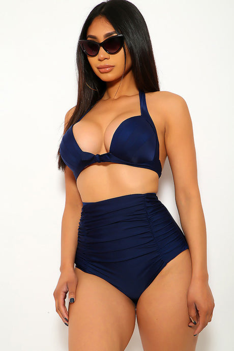 Navy High Waist Plus Size Two Piece Swimsuit