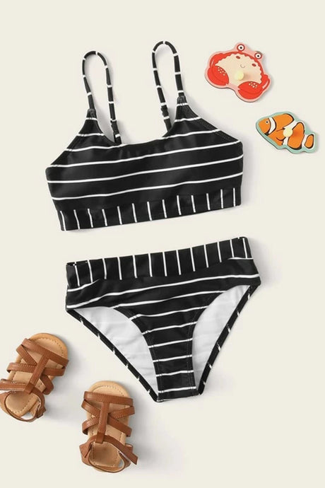 Girls Contrast Striped Bikini Set
