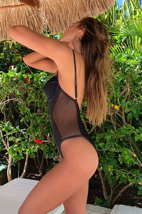 CONTRAST COLOR PIPING LOW BACK SPLICING MESH ONE PIECE SWIMSUIT