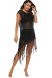 Asymmetric Fringe Crochet Cover Up Dress